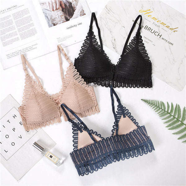 Ladies French Style Bralette Seamless Deep V Lace Bra