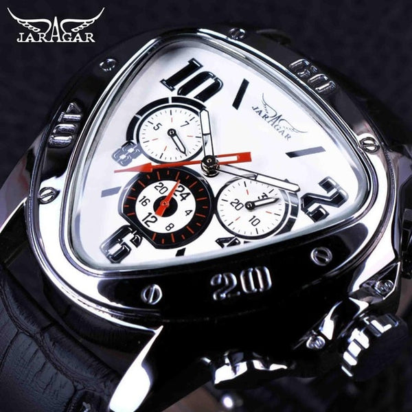 Jaragar Men's Sport Racing Design Geometric Triangle Design Genuine Leather Strap Men's Watch