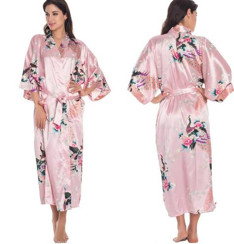 Women's Satin Robes for Brides Wedding Robe Sleepwear Silk Pijama Casual Bathrobe Animal Rayon Long Nightgown Women Kimono XXXL