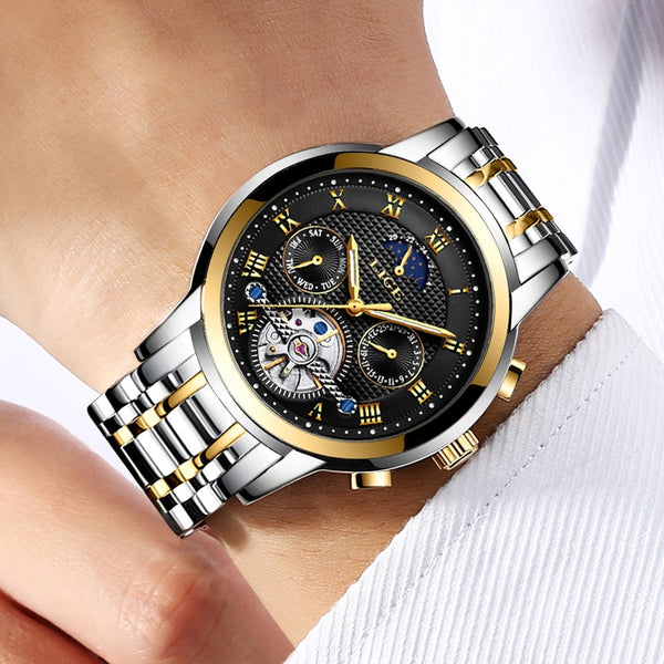 LIGE Men's Watches Top Brand Luxury Automatic Full Steel Business Waterproof Sport Watches