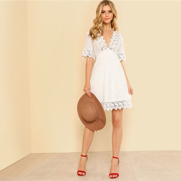 Women's Lace Trim Eyelet Embroidered Sexy Summer Party Dress Vestido de fiesta