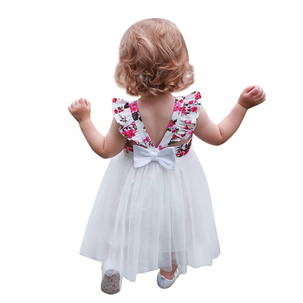 Toddler Kids Girls Flower Print Sleeveless Backless Tutu Dress Outfit Clothes