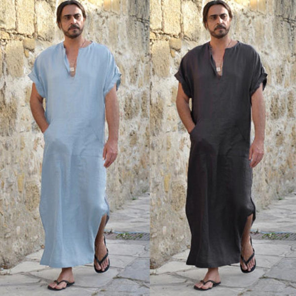 Men's Ethnic Robes Loose Striped Short Sleeve Thin Vintage Dress Kaftan