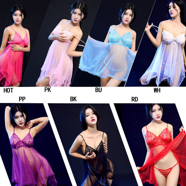 Women Sexy Lace Nightwear Uniform See-through Dress Mesh Size Fun Pajamas