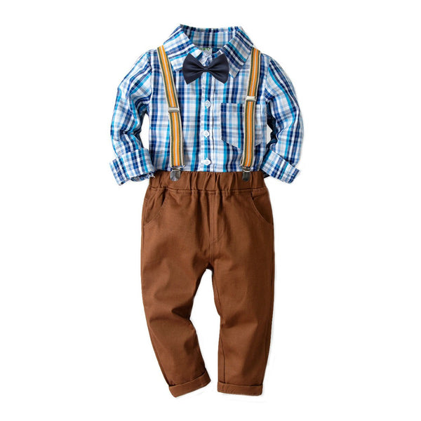 Toddler Baby Kids Boys Gentleman  Top T-Shirt Plaid Trousers Pants Set