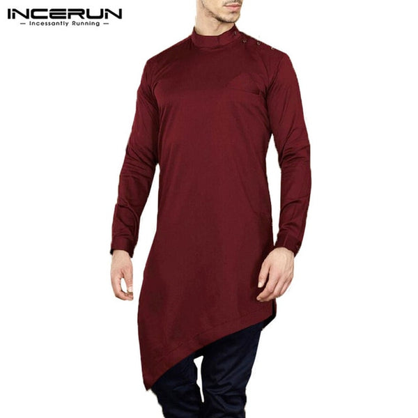 Men's Long Sleeve Irregular Hem Casual Dress Shirts Buttoned Solid Color Islamic Clothing Kaftan Thobe Kurta