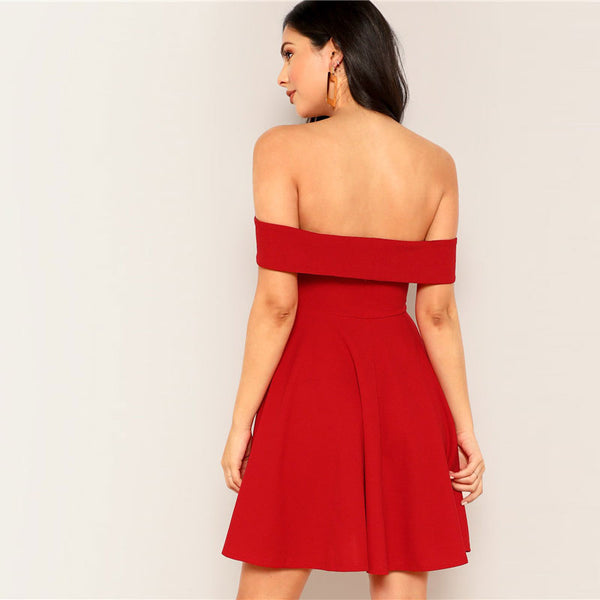 Women's Off the Shoulder Flare Party Dress (vestidos de fiesta)