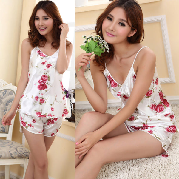 Women's Sexy Pajamas Set Blouse Shirt + Shorts Underwear Sleepwear Print Sleeveless Pajamas