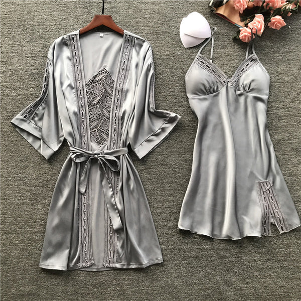 Women Robe & Gown Sets Sexy Lace Sleep Lounge PJ's Long Sleeve Ladies Nightwear Bathrobe Night Dress With Chest Pads