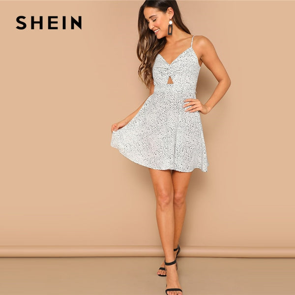 Women's Black and White Backless Dress Women By SHEIN (vestidos de fiesta)