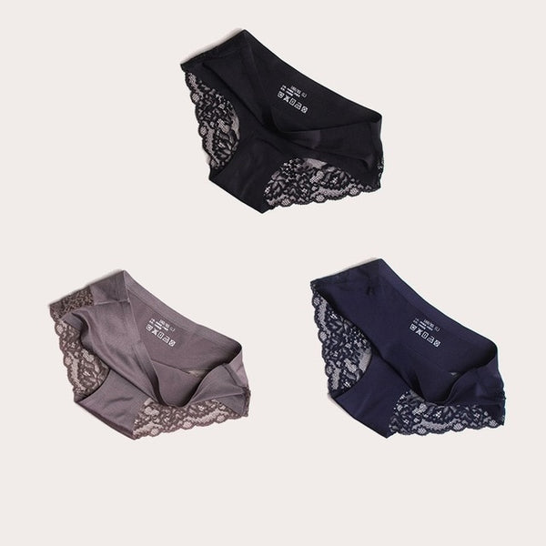 3PCS Women Seamless Silky Transparent Panties