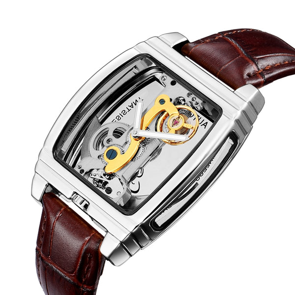 Mens Watches Top Brand Luxury Genuine Leather Belt Transparent Skeleton Watch