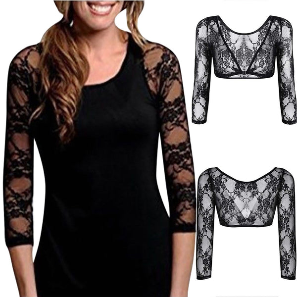 Seamless Arm Shaper Sleevey Wonders Women's Lace V-neck Cardigan