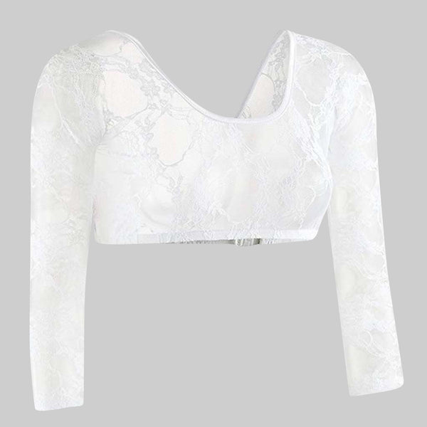 Seamless Sexy Crop Top Arm Shape Sleeve Women's Lace V-neck Cardigan femme camisetas mujer