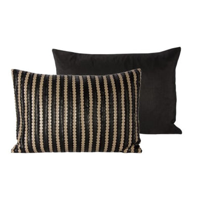 Coffee color kidney size pillow with Solid black velvet at the back Feather insert Made in Canada. washable cover. $50 size: 13