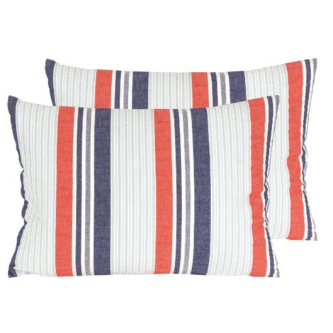Blue and red cottage lavish pillow. With feather insert. Kidney size pillow