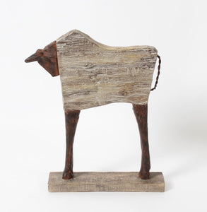 WOODEN BULL TABLE DECOR
