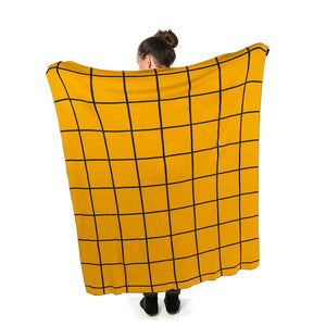 Double sided Graph Check Knit Throw
