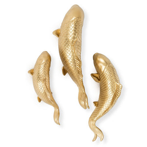 Set of 3 gold koi fish wall art