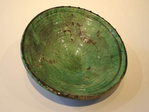 Vintage Ceramic Moroccan Bowl in Rich Green