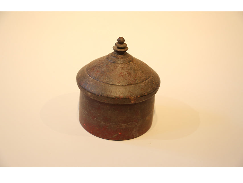 Large Vintage Wooden Tikka Box from India