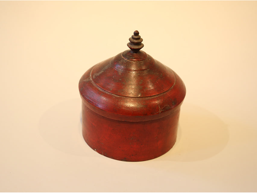 Large Vintage Wooden Tikka Box from India Burnished