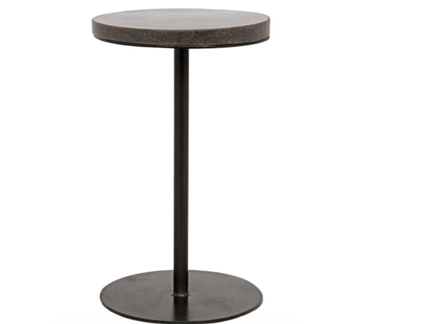 Round Metal and Stone Side Table