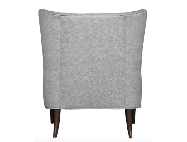 Modern Wing Chair in Brushed  Pewter Fabric