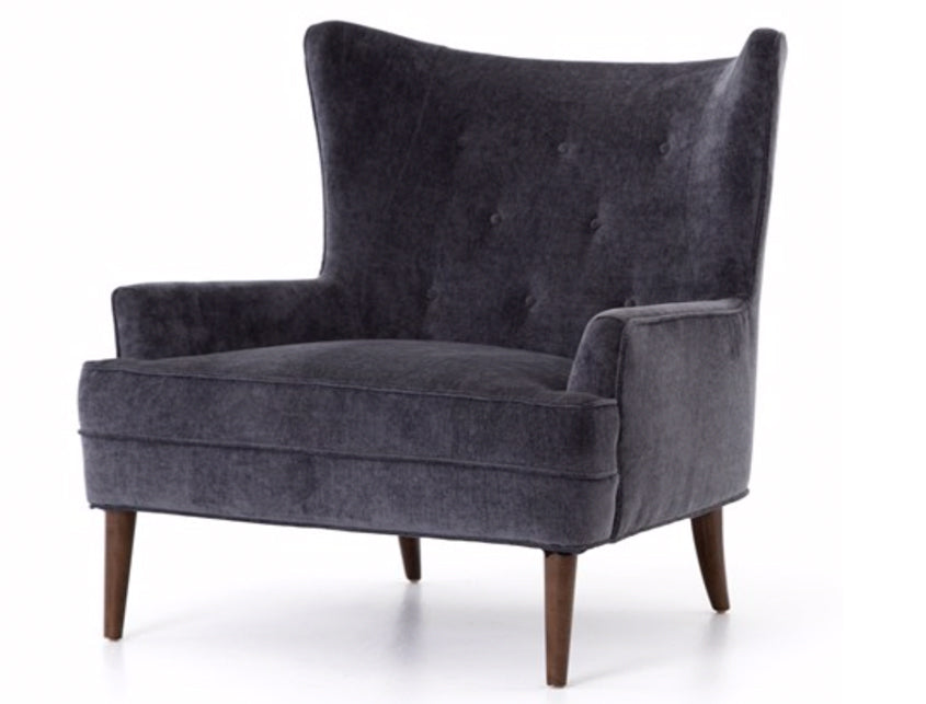 Brilliant Modern Wing Chair In Charcoal Velvet Bralicious Painted Fabric Chair Ideas Braliciousco