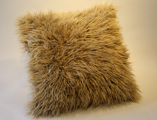 Vintage African Mud Cloth & Faux Fur Pillow