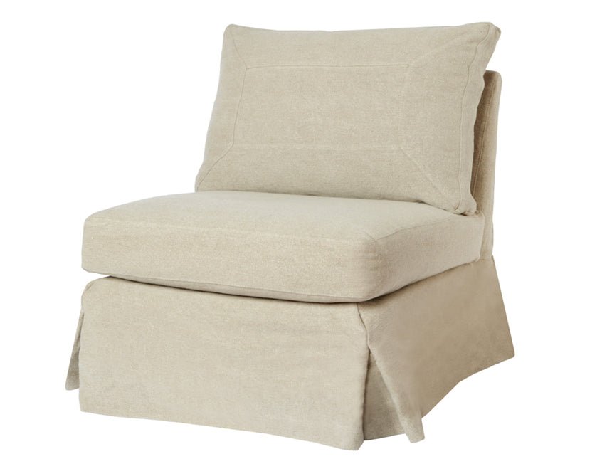 Seda Armless Swivel Chair in Brevard Burlap