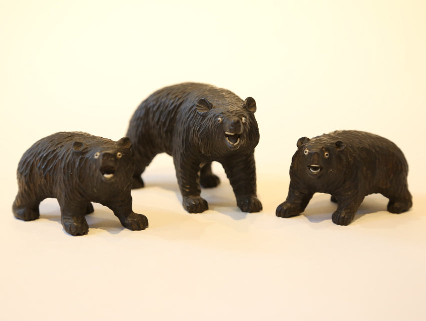 Vintage Carved Wooden Fetish Animals – 3 Bears
