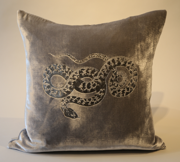 Velvet Silver Foil Pillow with Snake