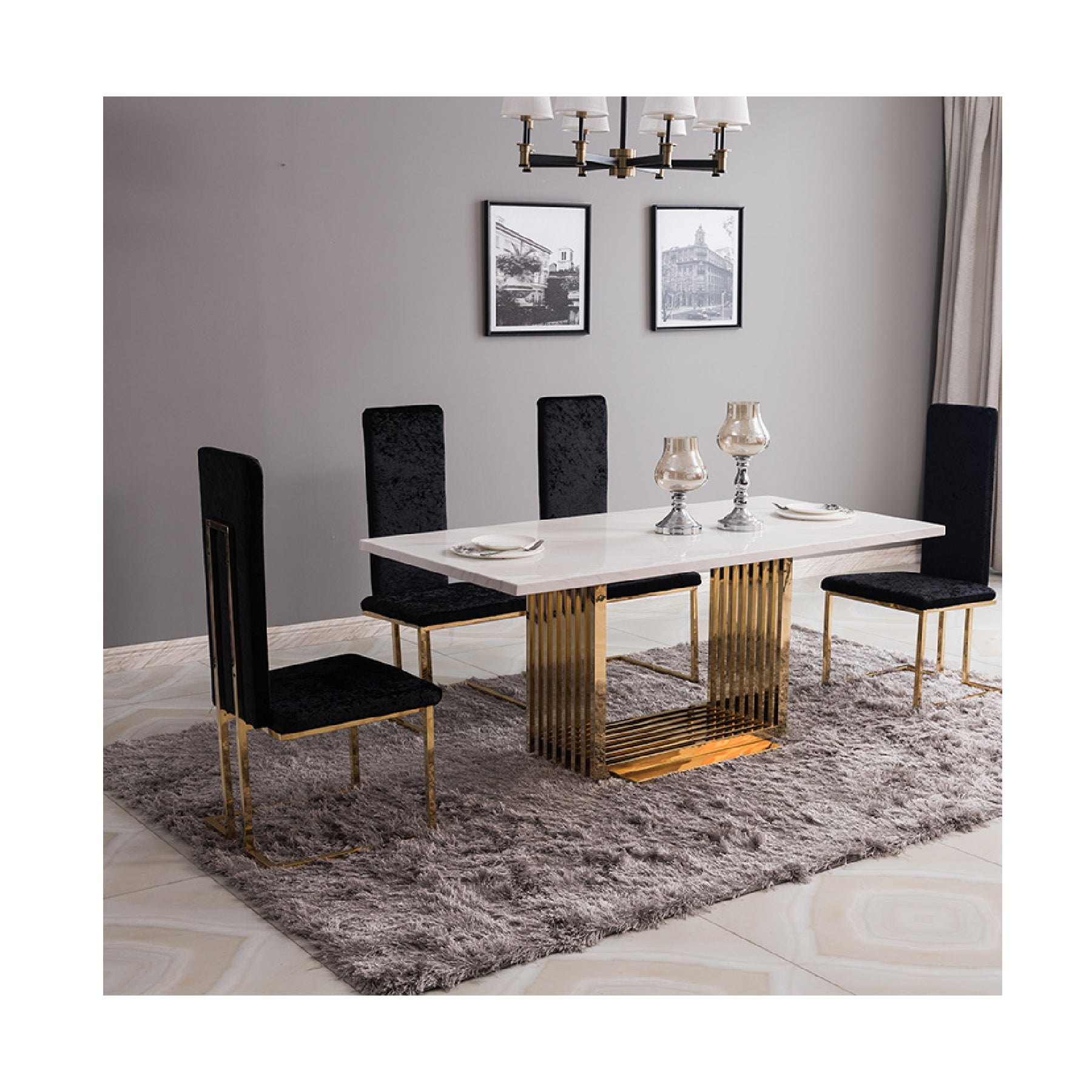 Marble Table MHF005 Black Set - mhomefurniture