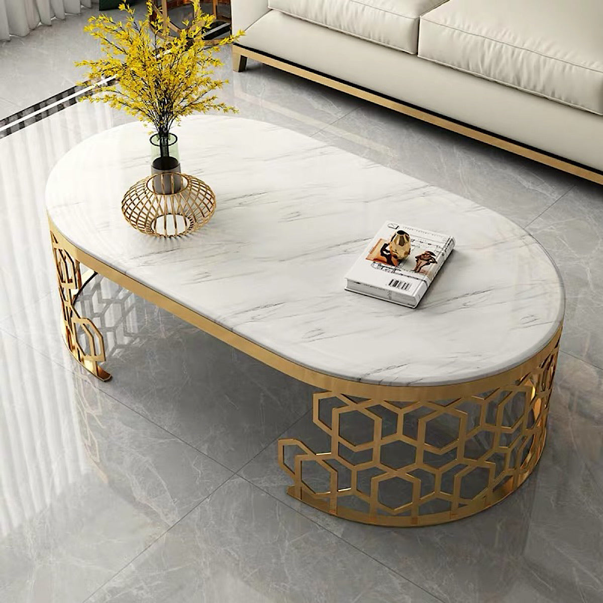 Rose Marble Coffee Table - mhomefurniture