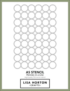 LISA HORTON CRAFTS - PENNIES IN A LINE A5 STENCIL