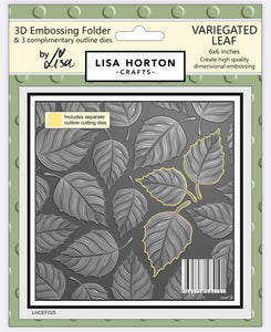 3D Embossing Folder - Variegated Leaf  (with 3 coordinating outline dies)