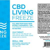 CBD Living Freeze, 3oz roll on, 120mg, full spectrum