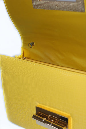 yellow crocodile leather bag