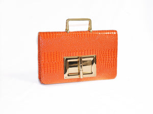 orange crocodile leather bag