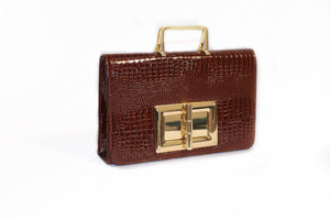 brown crocodile leather bag