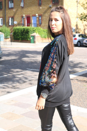 Black sequin sweater