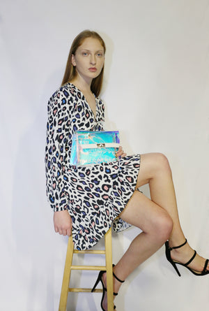 Animal print white dress with clear case bag