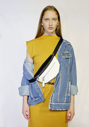Mid Dress with belt-bag and denim jacket