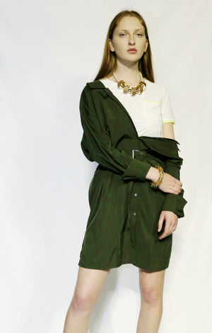 Belted Green Dress with Tshirt and accessories