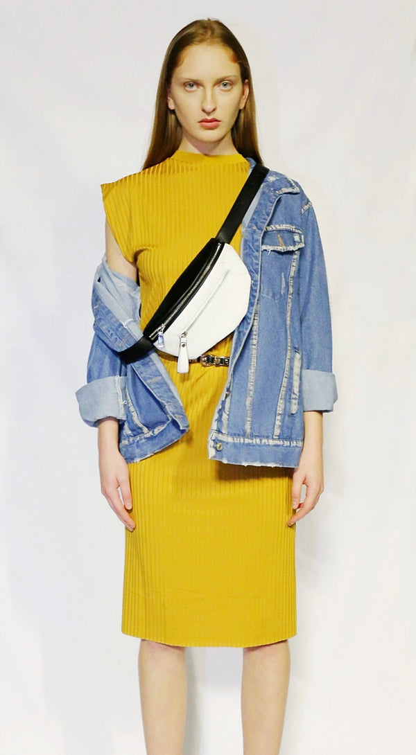 mid mustard dress with belt-bag and denim jacket