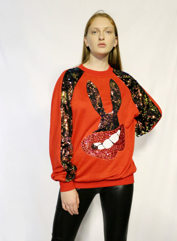 Bunny print on front sweater