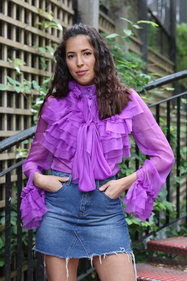 Tulle ruffled shirt - Turtle neck