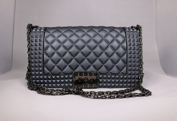 Chanel-inspired crossbody bag with chain strap