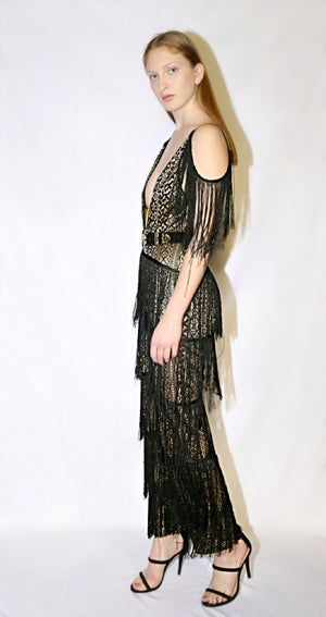 fringe jumpsuit black and gold